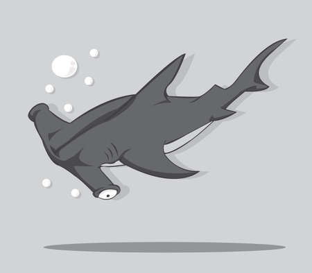 Cartoon Hammer fish shark  vector and illustration Vector
