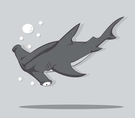 pez martillo: Cartoon Hammer pescados tiburón vector e ilustración Vectores