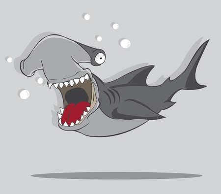 Cartoon Hammer fish shark  vector and illustration Ilustração
