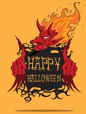 Red Devil  Halloween monster Vector