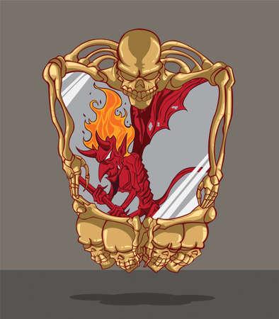 sneering: Red Devil  Frame with skull