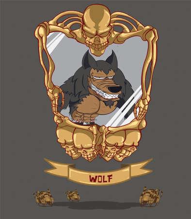 Cadre de loup avec le cr�ne Illustration