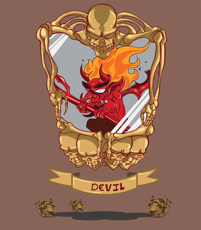 Red devil  Frame with skull Vector