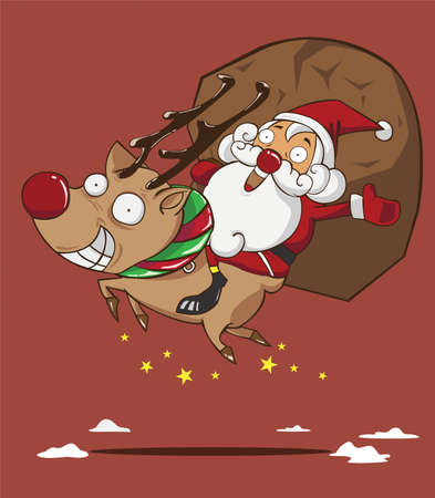 ha: Santa claus and reindeer  Merry Christmas