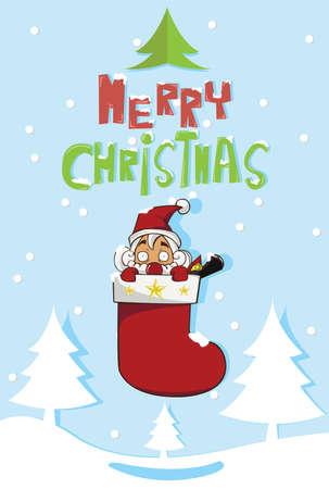 Santa claus inside red Socks Vector