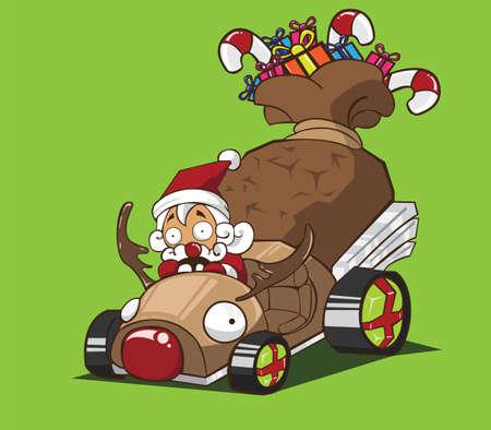 Le p�re no�l conduire un style de rennes de voiture Illustration