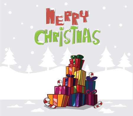 Gift boxes  Christmas tree on Background Vector