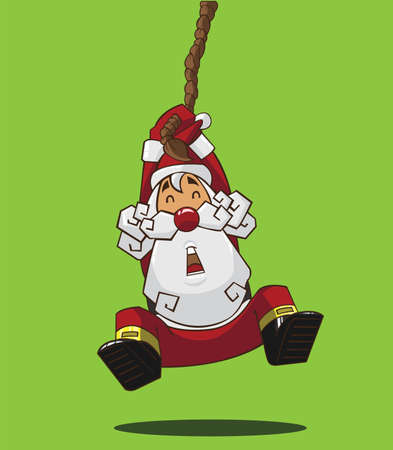 Santa Claus hanging on a rope