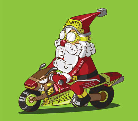Christmas delivery  Santa Claus on a motorcycle Vector