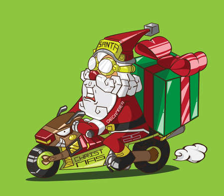 Christmas delivery  Santa Claus on a motorcycle