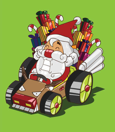 Santa Claus drives a car reindeer style Vector