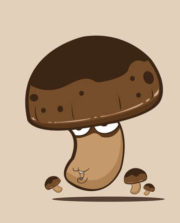 create cartoon mushroom Vector