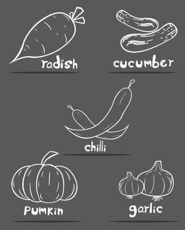vegetables in vector set Vector
