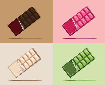 barra de chocolate: barra de chocolate del vector, fresa chocolate, leche e chocolat, chocolate verde tee