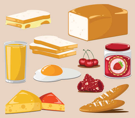 The fried bread and jam Vector Vector