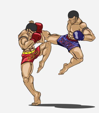 artes marciales: Arte marcial Muay thai Vectores