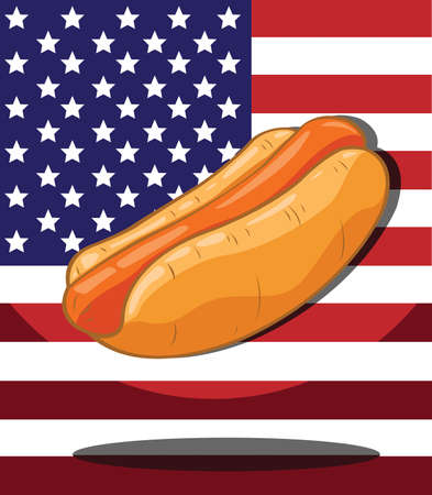 Hot dog  America Flag background