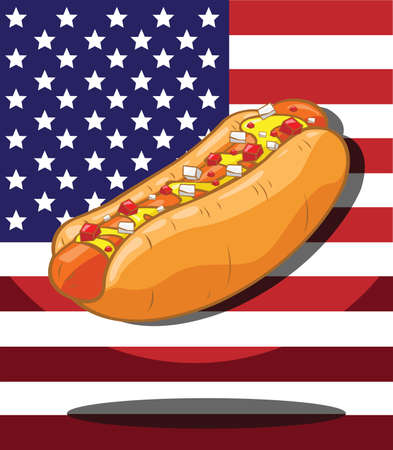 Hot dog  America Flag background Vector