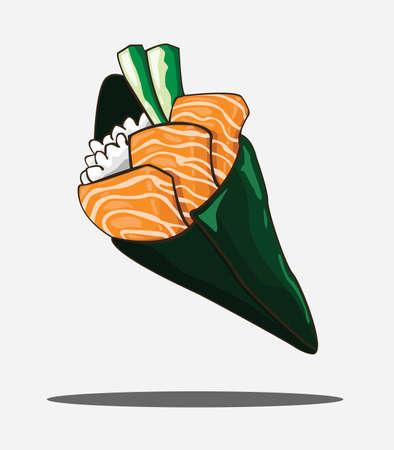 temaki sushi vecteur de saumon et illustration