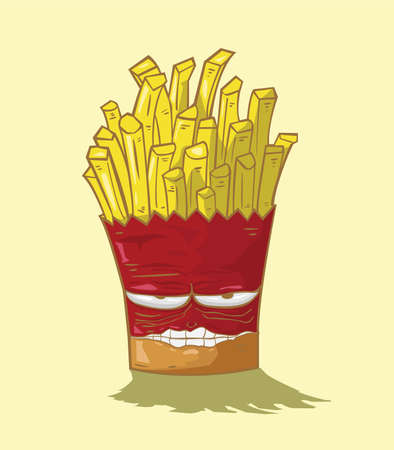french fries vector yellow background Vector