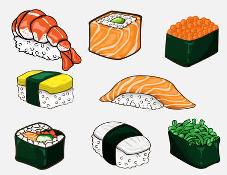 Japanese sushi collection. Vector design  イラスト・ベクター素材