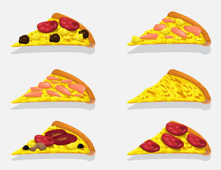 Pizza Slices Collection. Vector Design Illustration