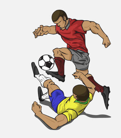 Vector illustration two players fighting for the ball Illustration