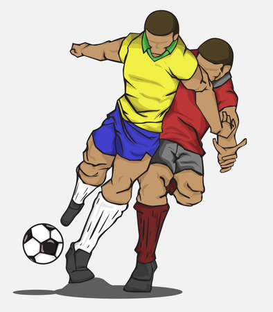 football tackle: Vector illustration two players fighting for the ball Illustration