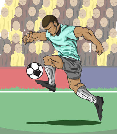 football kick: illustration Soccer player kicking the ball