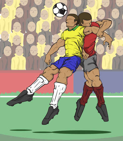 football players: ilustración de dos jugadores luchan por el balón Vectores