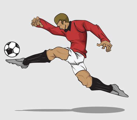 football players: ilustraci�n del jugador de f�tbol que golpea la bola
