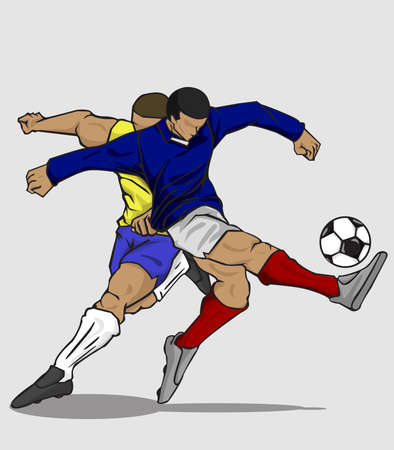 illustration two players fighting for the ball