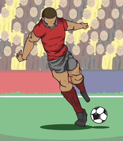 futbolista: ilustración del jugador de fútbol que golpea la bola