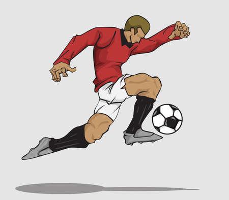 football players: ilustración del jugador de fútbol que golpea la bola