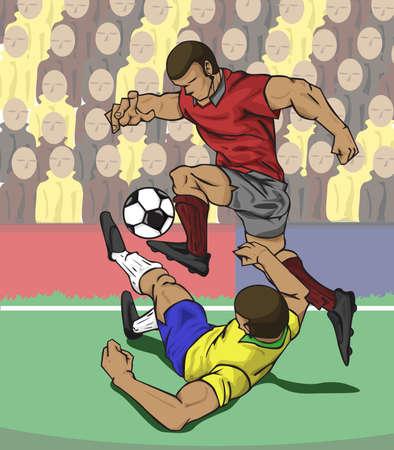 jugadores de futbol: ilustración de dos jugadores luchan por el balón Vectores