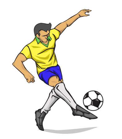 Soccer player kicking the ball. Vector illustration