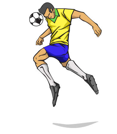 Soccer player head shot the ball. Vector illustration