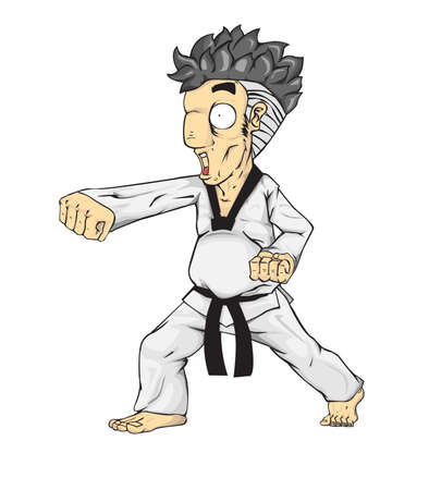 kwon: Taekwondo puch. Martial art Illustration