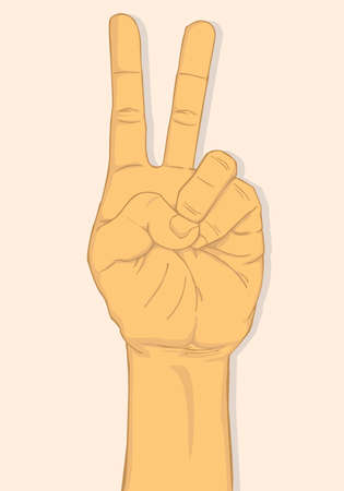 two fingers: Left hand show two fingers. vector and illustration design