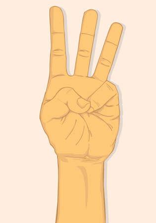 three fingers: Left hand show three fingers. vector and illustration design Illustration