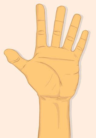 De linkerhand toont vijf vingers. vector en illustratieontwerp
