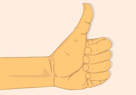 thump up: Left hand show thumbs up.vector and illustration design Illustration