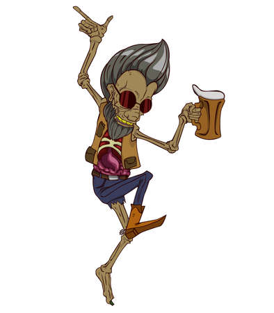 didactic: Zombie dancing in party and drink beer. Monster in Halloween night Illustration