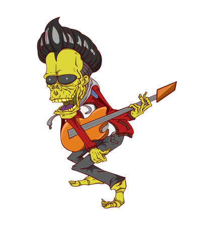 Zombie guitar player. Monster in Halloween night Illustration