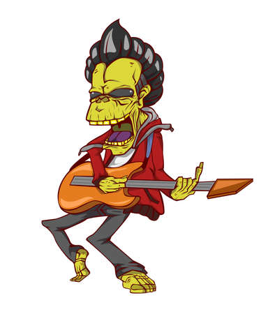 guitar player: Zombie guitar player. Monster in Halloween night Illustration