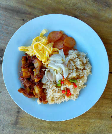 style: Rice mixed with Shrimp paste. Thai food style Stock Photo