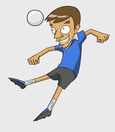 soccer player action kick the ball.  cartoon vector and illustration Illustration