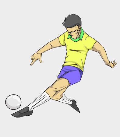 Soccer player kicking the ball, Vector illustration Illustration