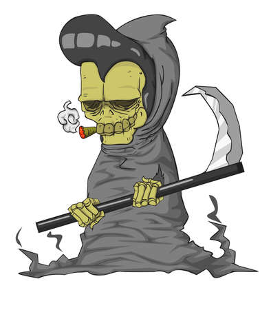 Grim reaper Character vector and illustration. Monster in Halloween night
