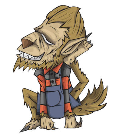 Werewovlf vector and illustration. monster in Halloween night Ilustração